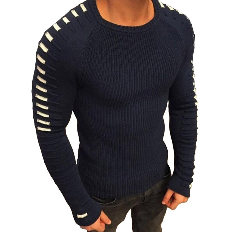 Patchwork Long Sleeve O-Neck Knitted Solid Men Pullover