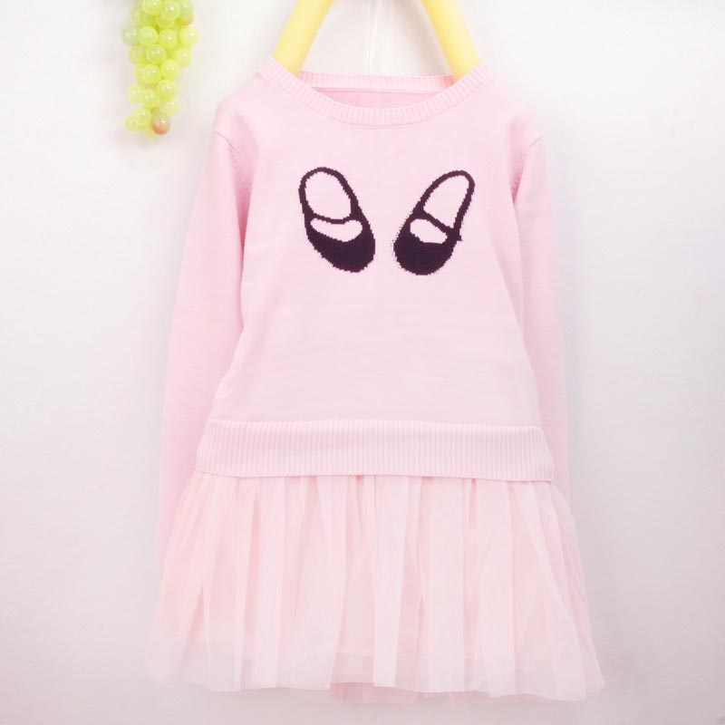 Cute Foot Pattern Soft Tutu Knitted Dress