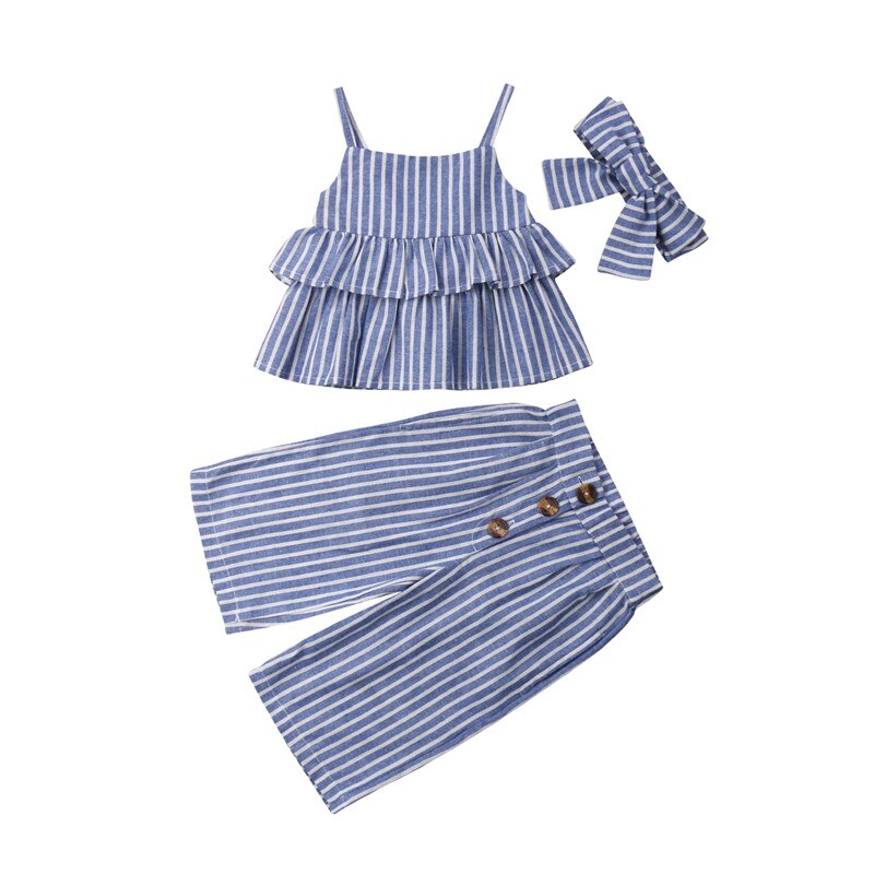 1-6Yrs Striped Sleeveless Strap Ruffle Vest With Pant & Headband For Girls