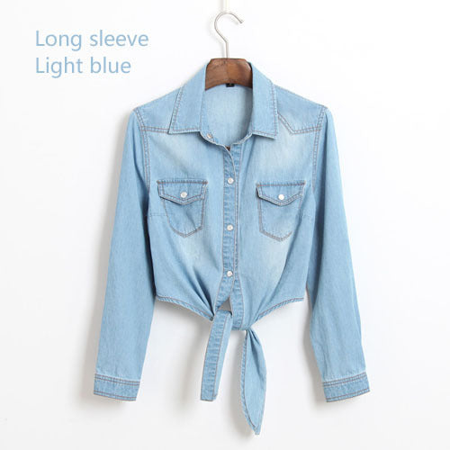 Female Sweep Tie-clasps Lacing Denim Outerwear Cardigan