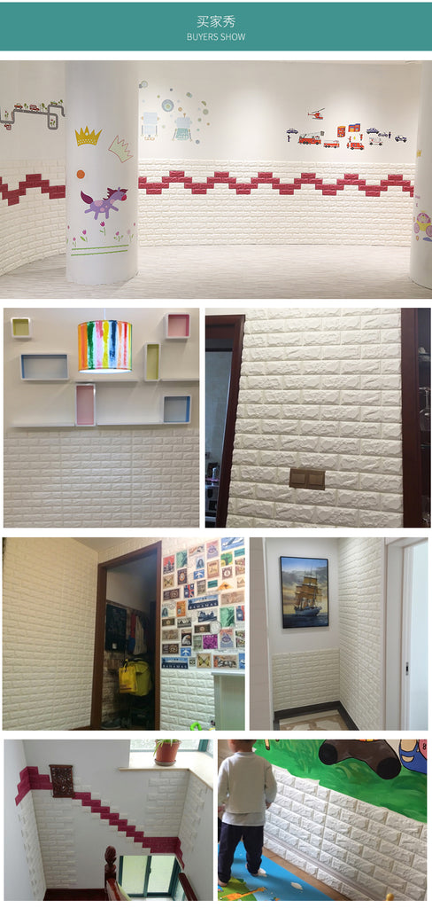 DIY Waterproof PE Foam Embossed Brick Stone 3D Wallpaper