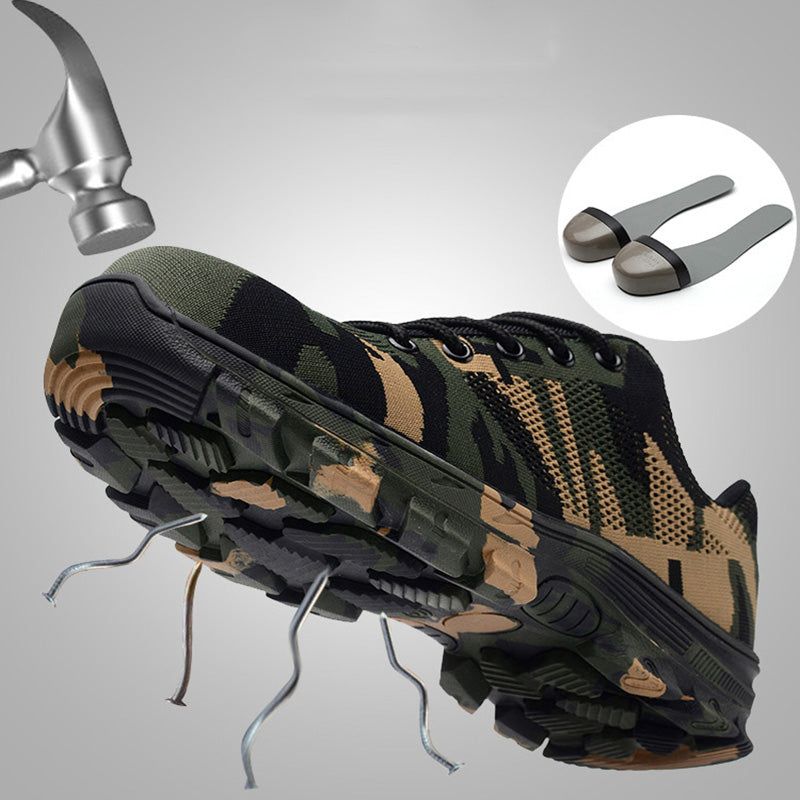 Camouflage Steel Toe Mesh Puncture Indestructible Safety Work Shoes