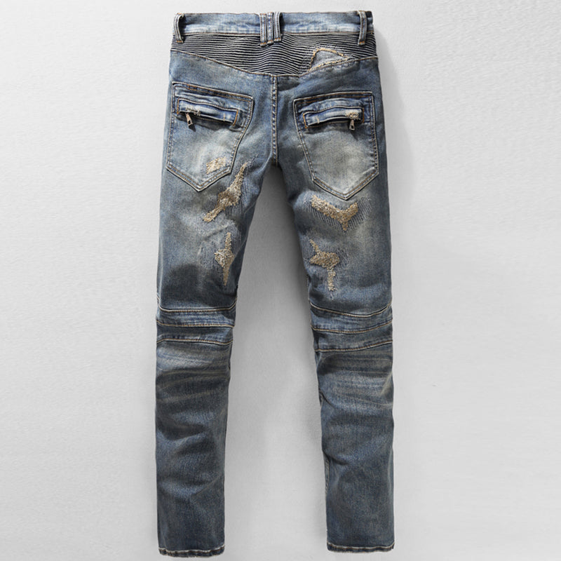 Vintage Hole Ripped Slim Patch Striped Denim Pants