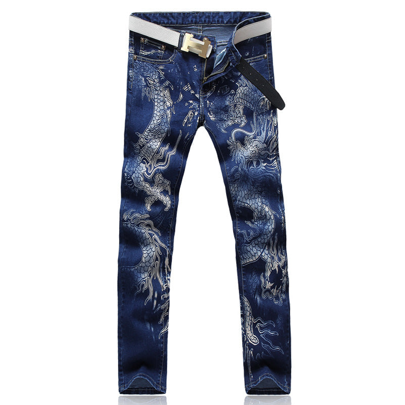 Dragon Print Slim Fit Jeans