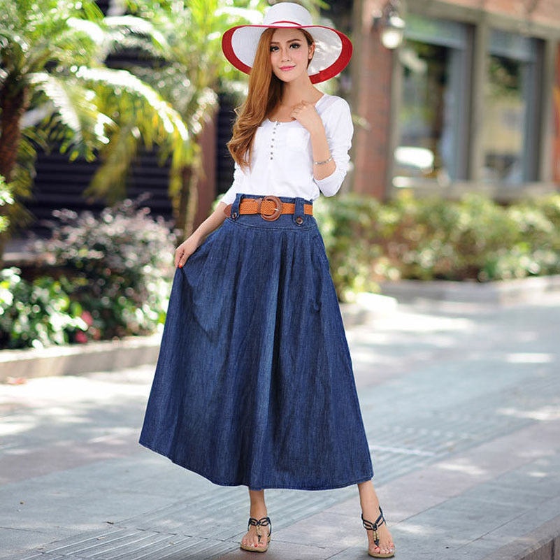 Casual Women Ankle Length Long Denim Skirt with Belt