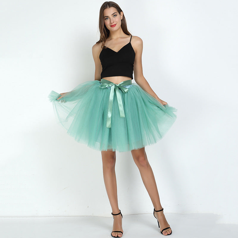 7 Layers Midi Tulle Skirt For Women