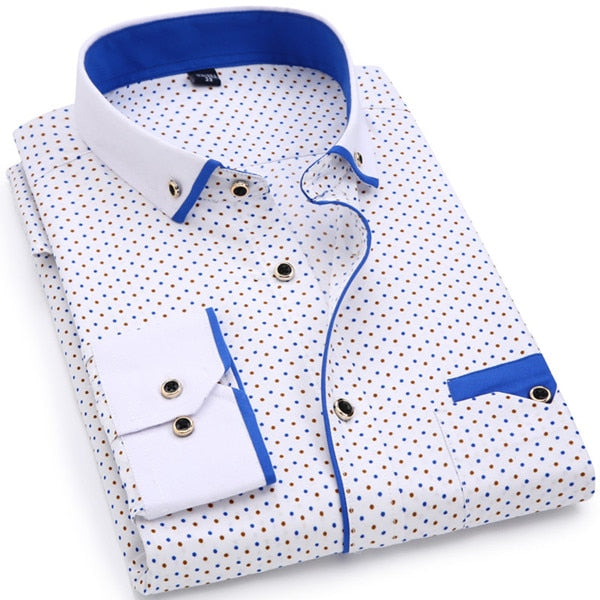Comfortable Soft Slim Fit Printed Long-Sleeved Men Shirt