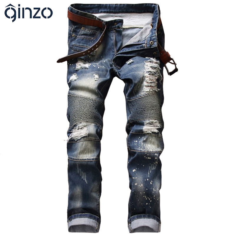 Casual Denim Beggar Straight Pants