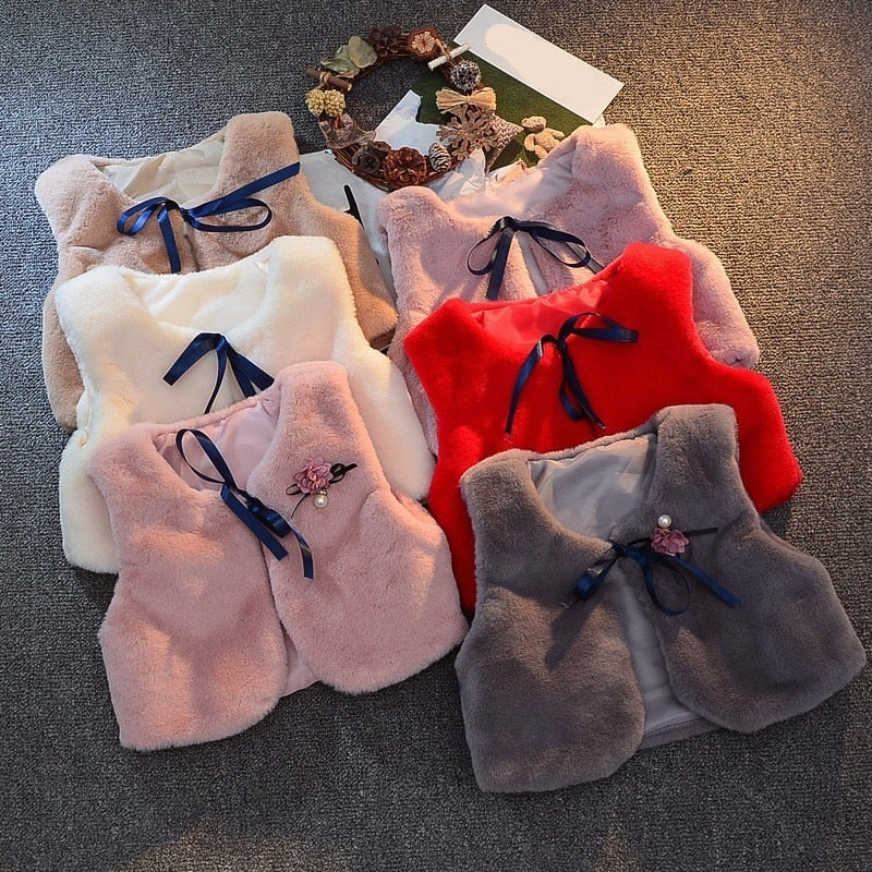 Casual O-Neck Thin Rabbit Hair Fur Vest For Girls