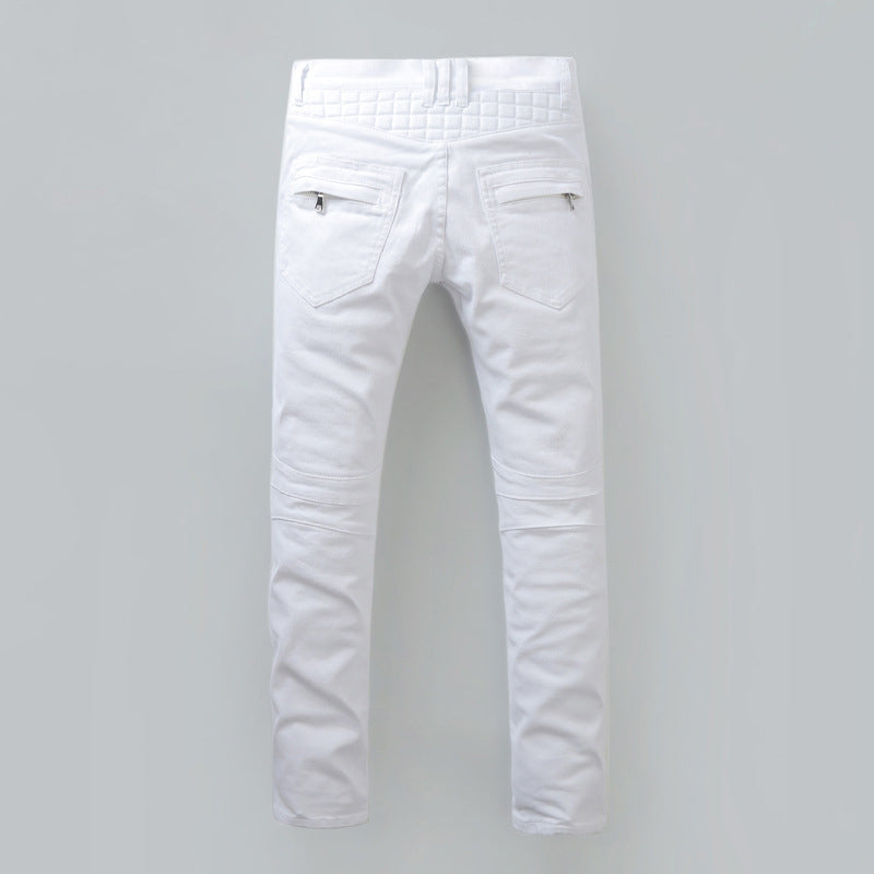 Slim Pure Jeans Patchwork Denim Pants