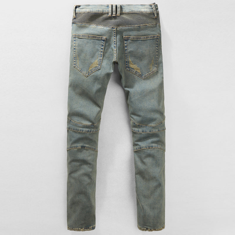 Casual Slim Vintage Jeans Thick Heavyweight