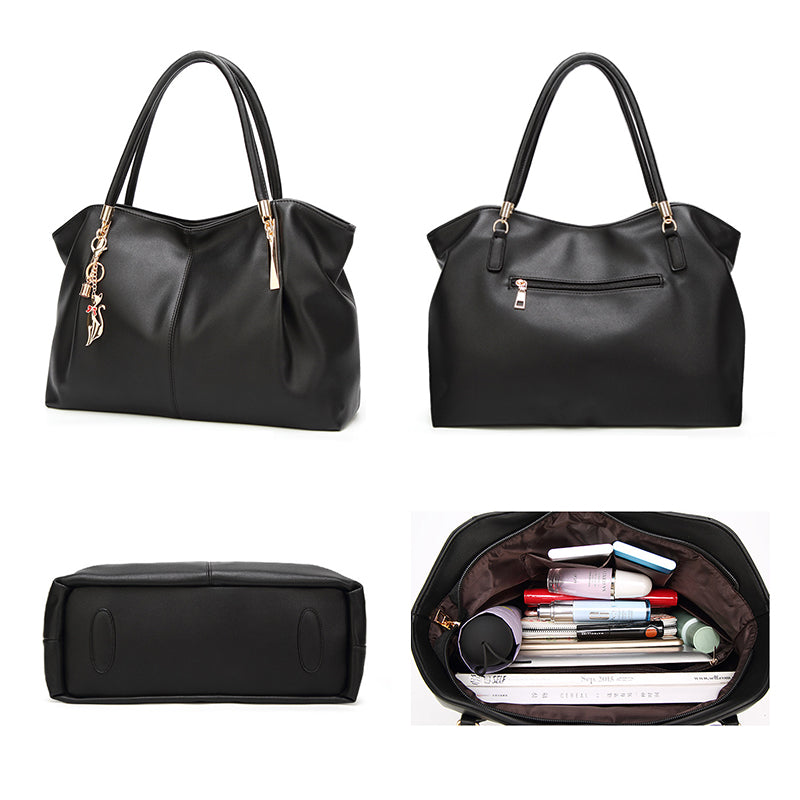 Soft Top-Handle Large Capacity PU Leather Women Handbags
