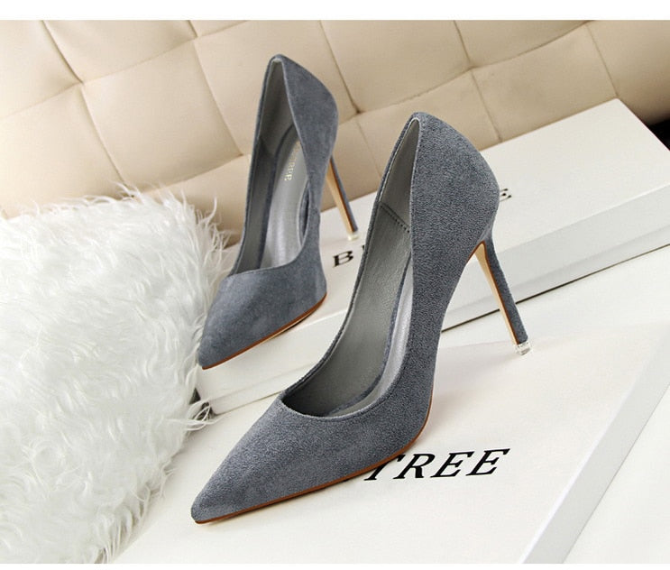 Casual Pointed Toe Slip-On 9cm High Heels Women Pumps