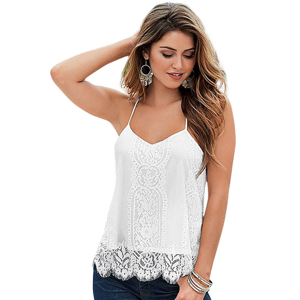 Sexy Sweet Sleeveless Backless Halter Lace Tank Tops