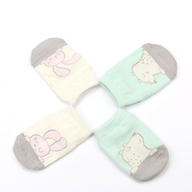 Cartoon Unisex Anti-Slip Cotton Toddler Boat Socks