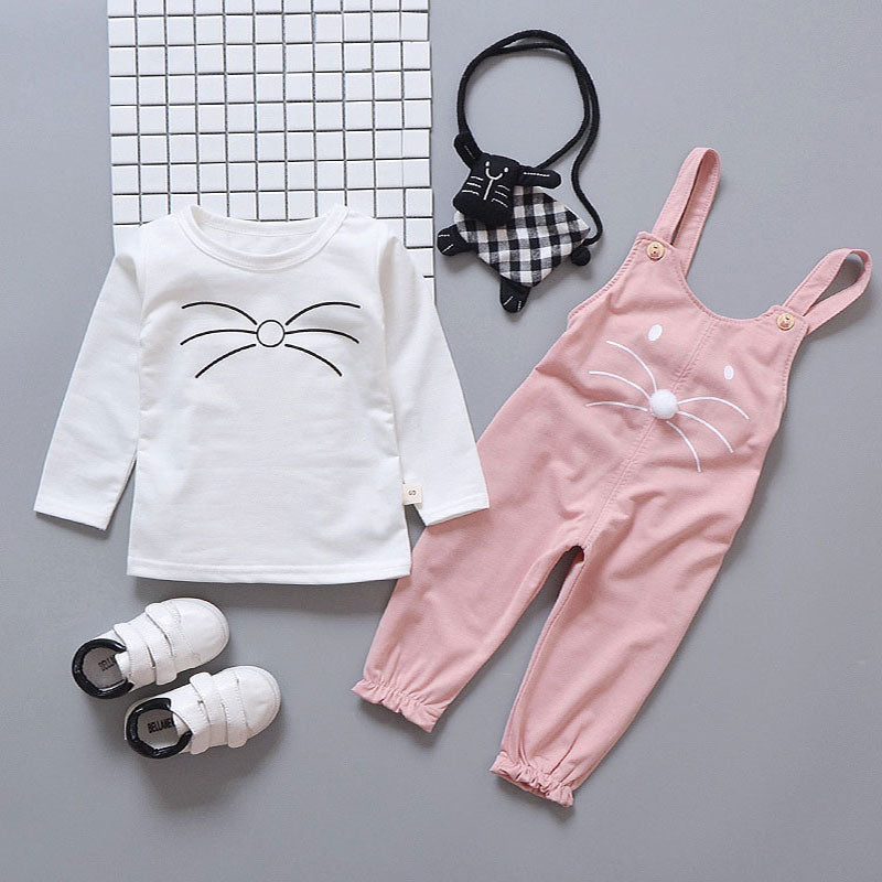 2 Pcs/Set Cartoon Cat Cotton Baby Girls T-Shirt With Pant