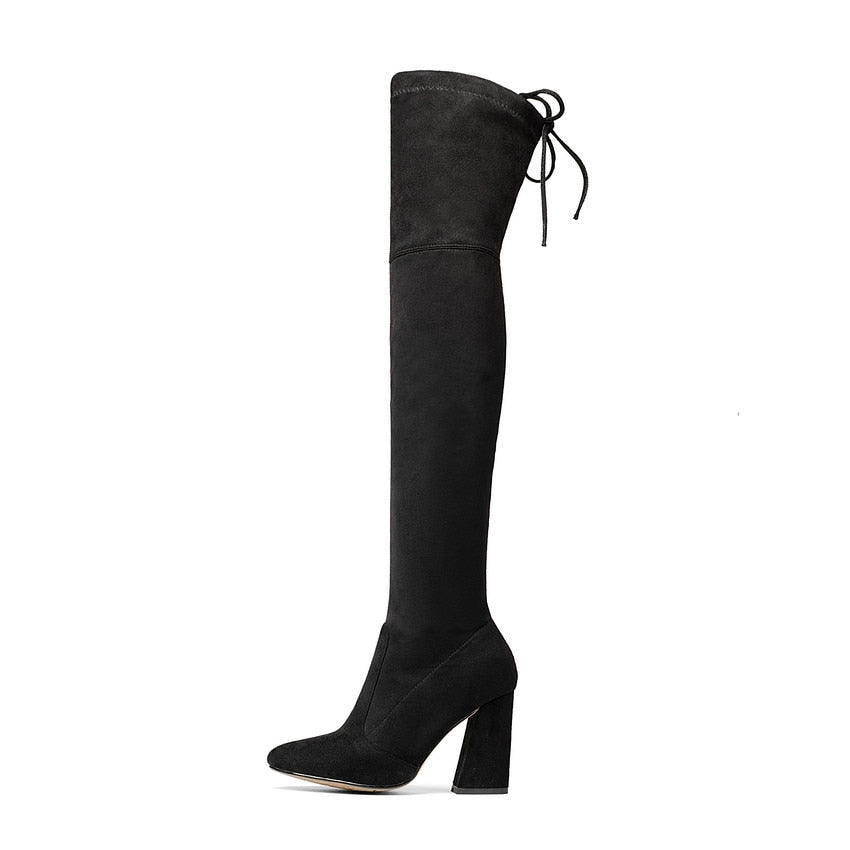 Over The Knee Lace Up High Heels Flock Leather Women Boots