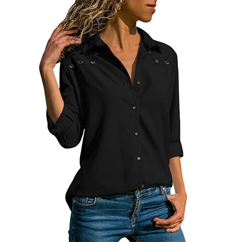 Hollow Out Turn Down Collar Solid Office Women Blouse