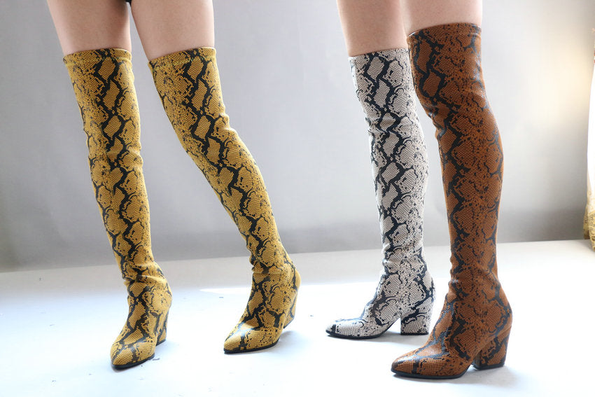 Pointed Toe Slip-On Over The Knee Serpentine PU Leather Long Boots