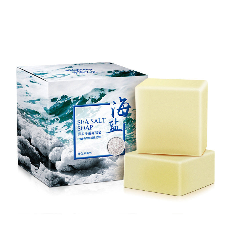 100G Sea Salt & Goat Milk Soap To Removal Pimple Pore Acne Treatment