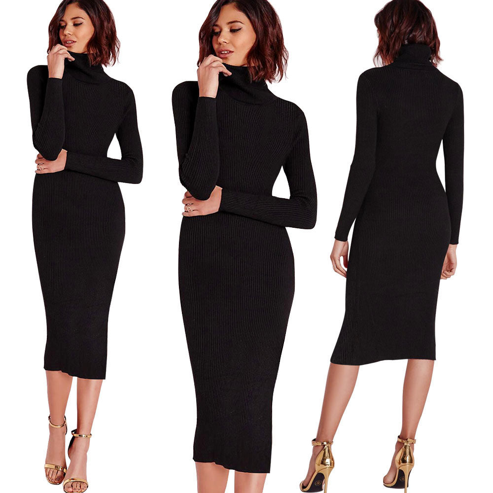 Elastic Turtleneck Knitted Bodycon Midi Dress