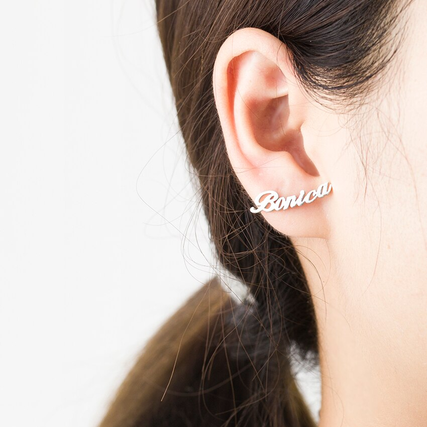 Trendy Personalized Custom Name Stainless Steel Stud Earrings For Women