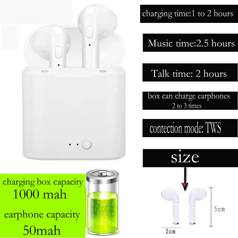 Universal i7s TWS Wireless Bluetooth Earphones With Charging Box