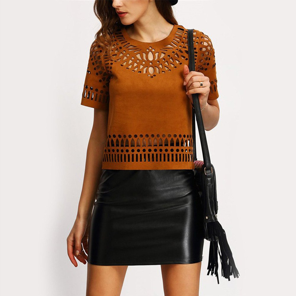 Ethnic Hollow Out T-Shirt Faux Leather