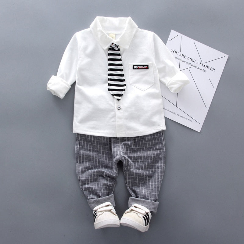 2Pcs/Set Striped Cotton Boys Formal Suit
