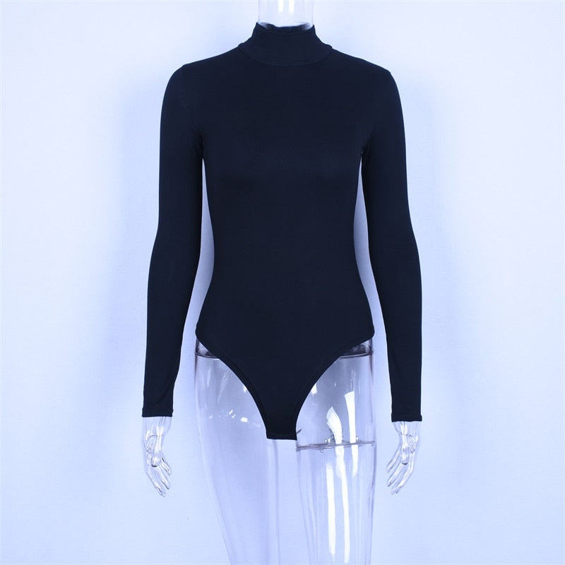 Sexy Mock Neck Solid Slim Fit Cotton Women's Bodysuit