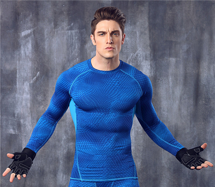 Fitness Exercise Compression Tights Shirts Long Sleeve Jerseys Men Shirt