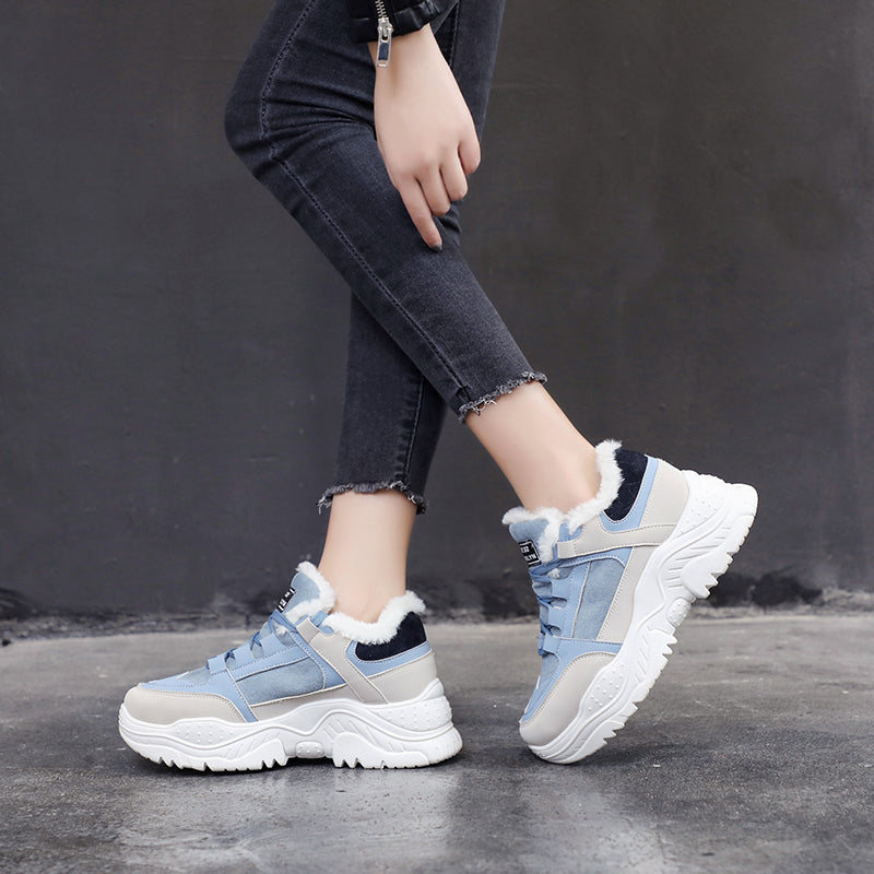 Comfortable Warm Plush Fur Platform Women Sneakers