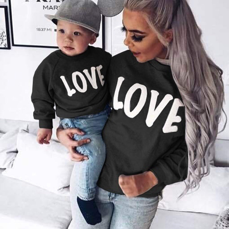 Fashion LOVE Printed Cotton Mother & Children Matching Sweatshirts