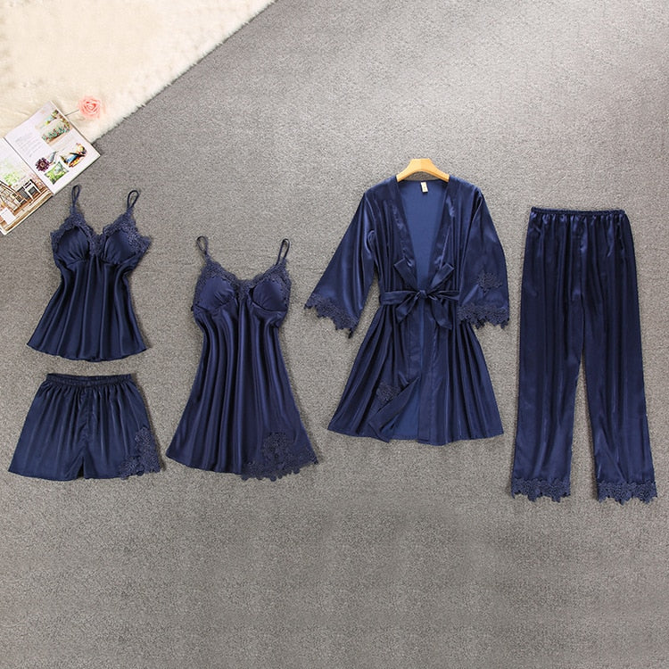 Embroidery Lace Silk Women's Blue Sleepwear Set