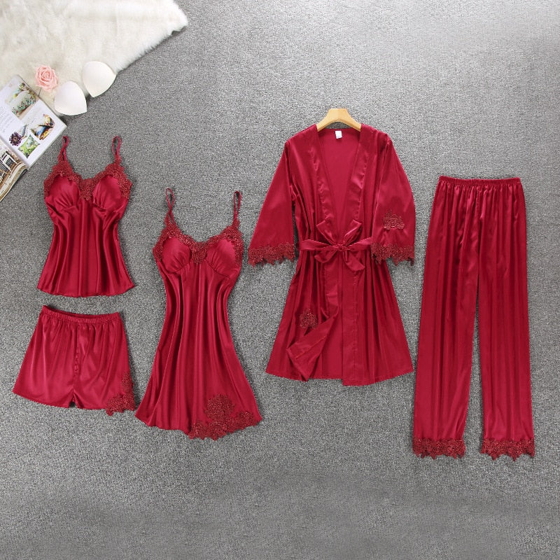 Embroidery Lace Silk Women's Sleepwear Set