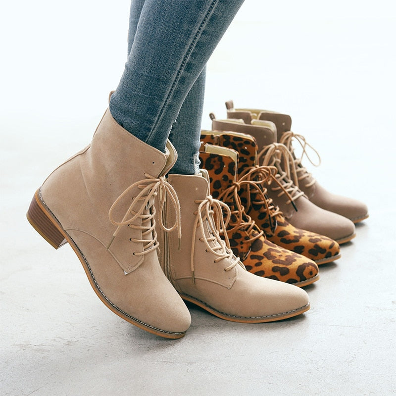 Retro Pointed Toe Leopard Chunky Heels Ladies Ankle Boots