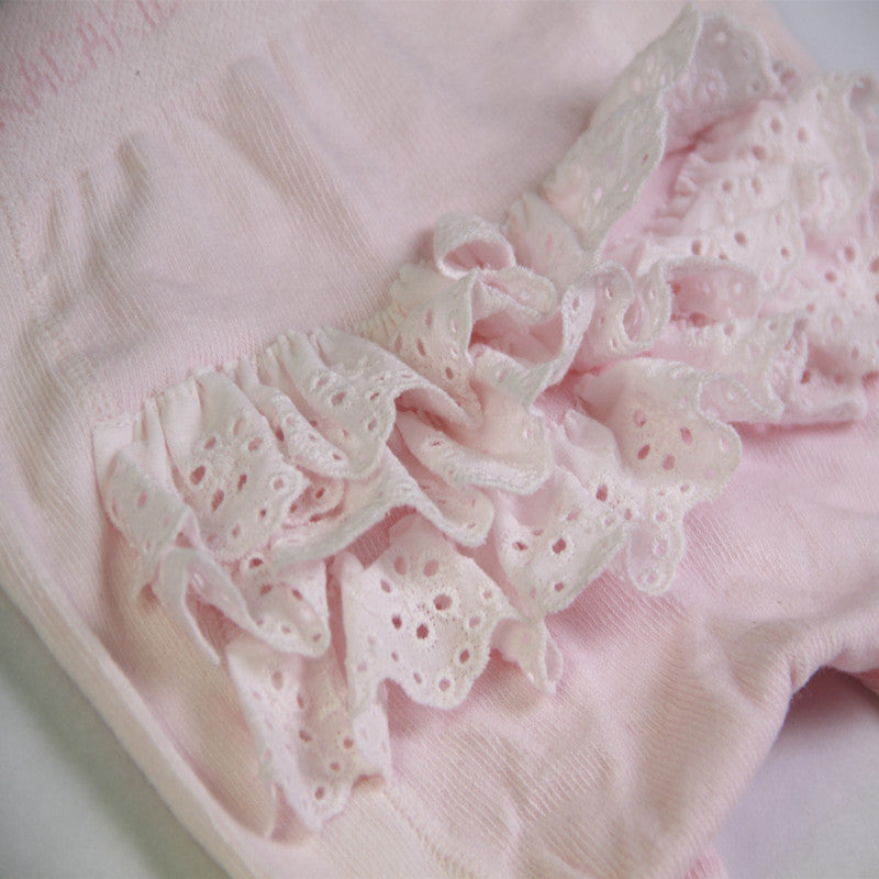 Cotton Knitting Tights Lace Princess 0-4T