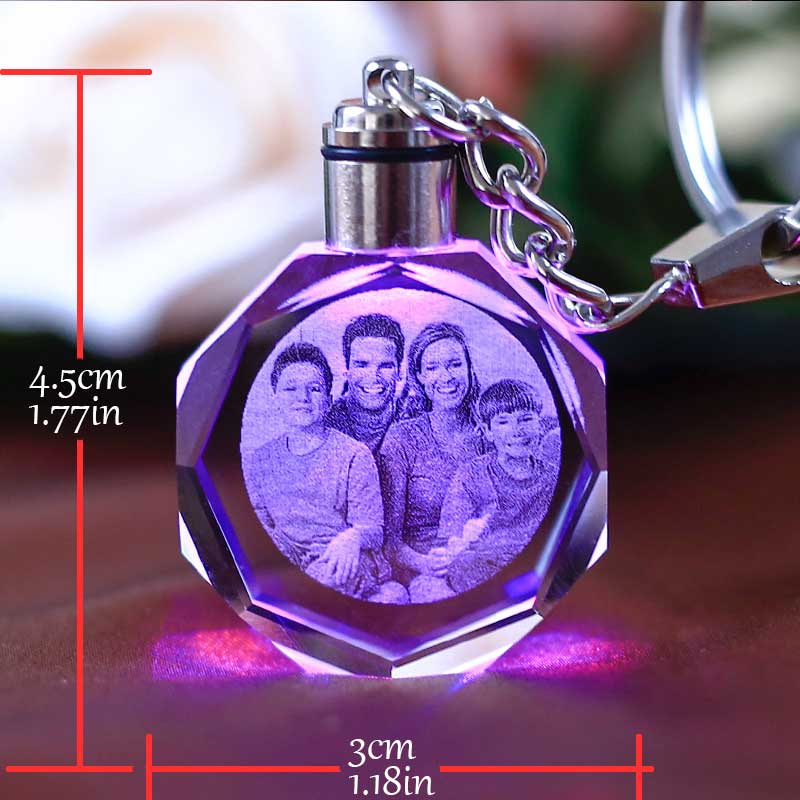 Personalize Custom Picture Crystal Keychain Photo Album With Changing Color