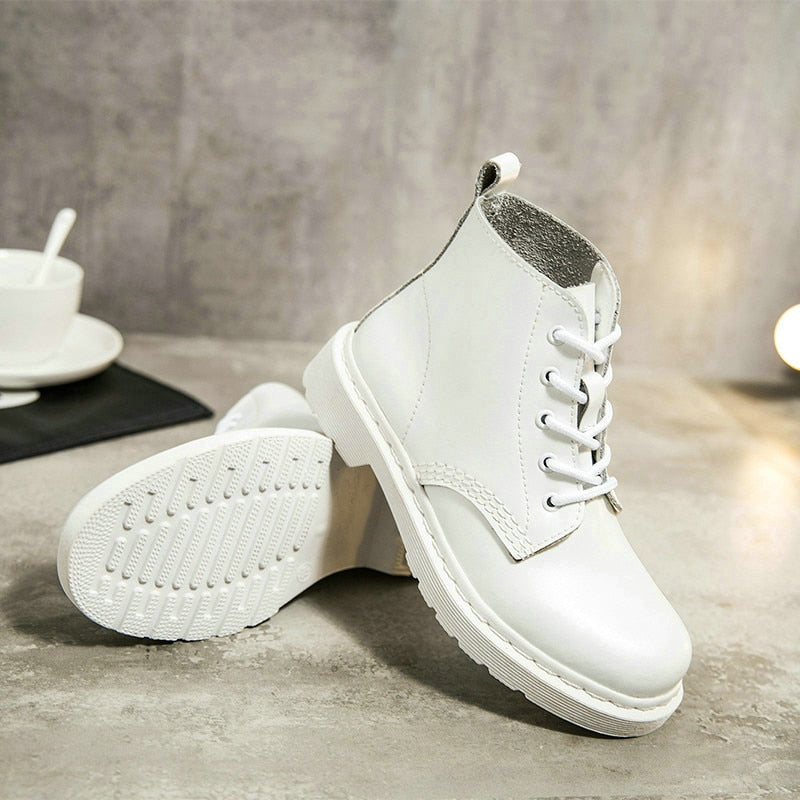 Round Toe Genuine Leather Women White/Black Ankle Motorcycle Boots