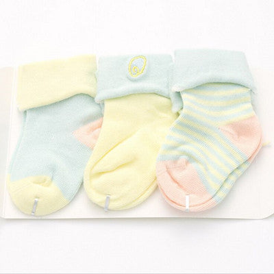 3 Pairs Cotton Striped Short Socks