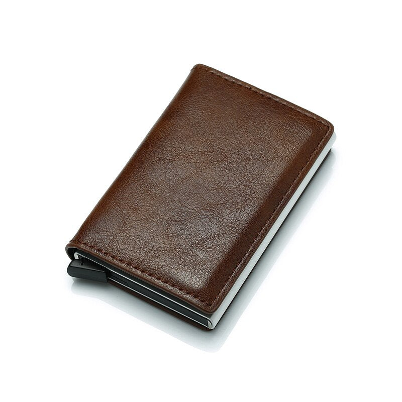 Automatic Hasp PU Leather RFID Men Wallet & Card Holder