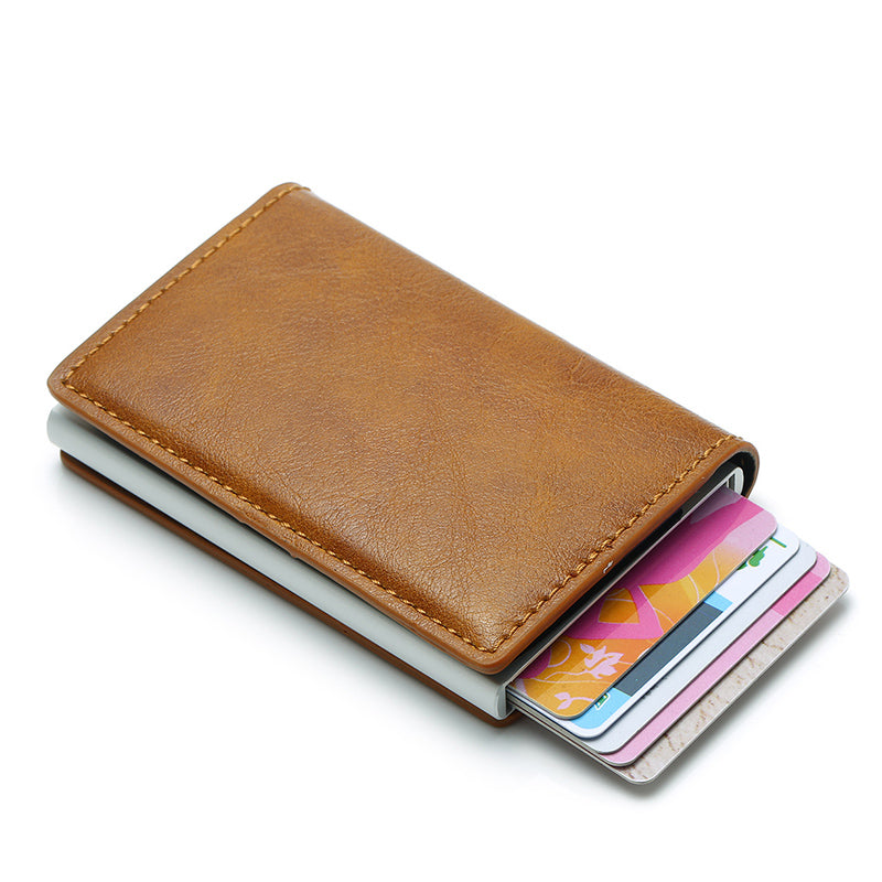 Unisex Vintage Leather Slim RFID Card Holder & Mini Wallet