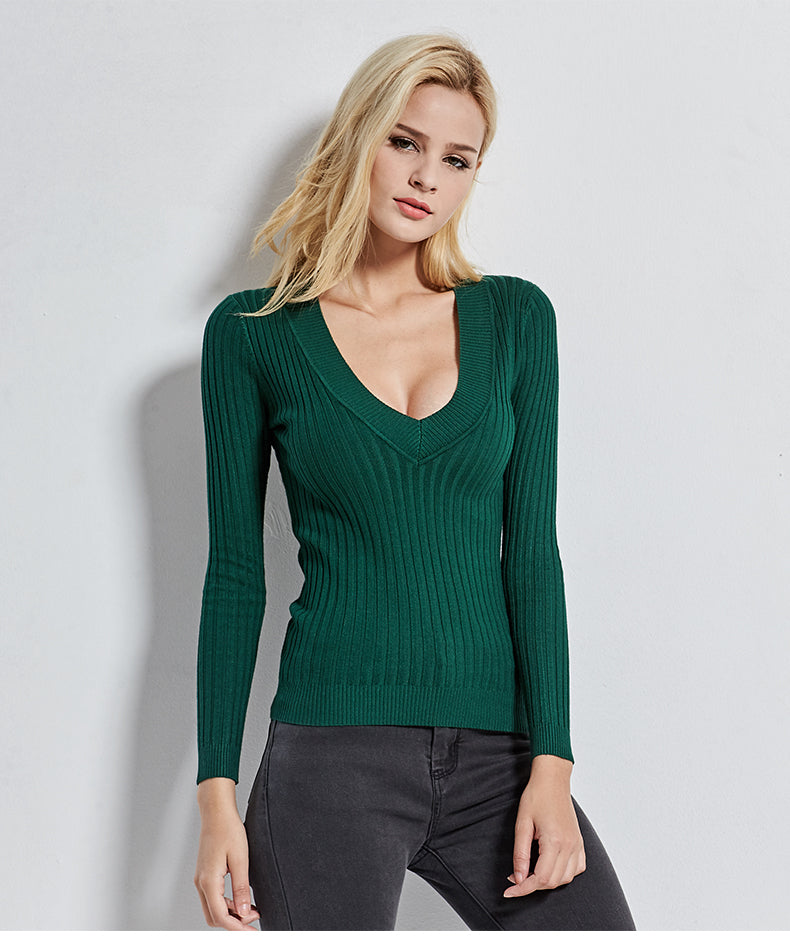 All Match Deep V Stretch Knitted Forest Green Women's Pullover