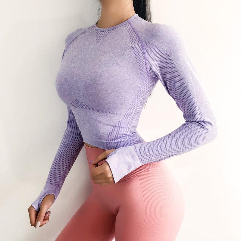 Long Sleeve Seamless Pink Women's Sports Shirts With Thumb Hole