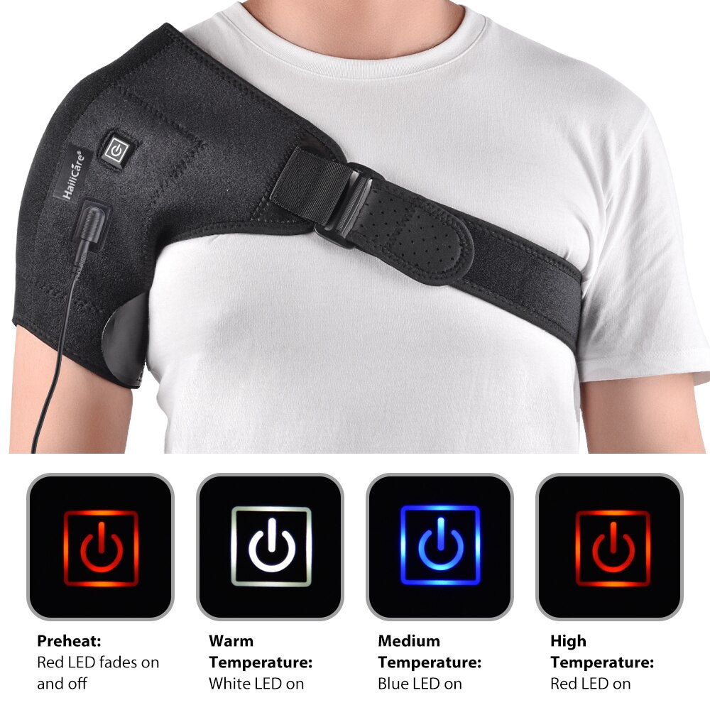 Electric Heat Therapy Adjustable Shoulder Brace Back Support