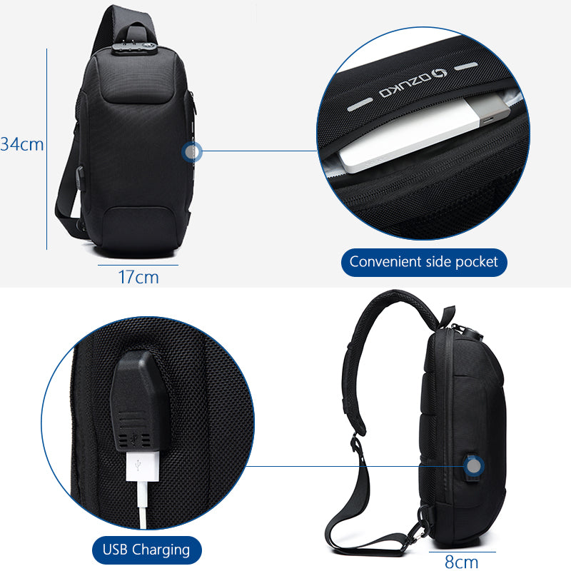 Unisex Multifunction Waterproof Anti-Theft Crossbody Bag