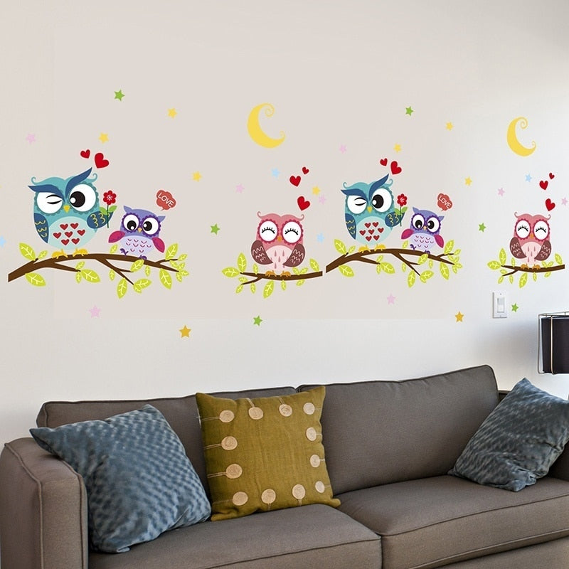 Removable Waterproof Cartoon Owl Wall Sticker For Kids Rooms