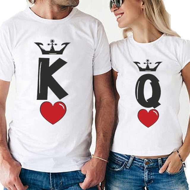 Chic Short-Sleeve Harajuku Couple Matching White T-Shirt