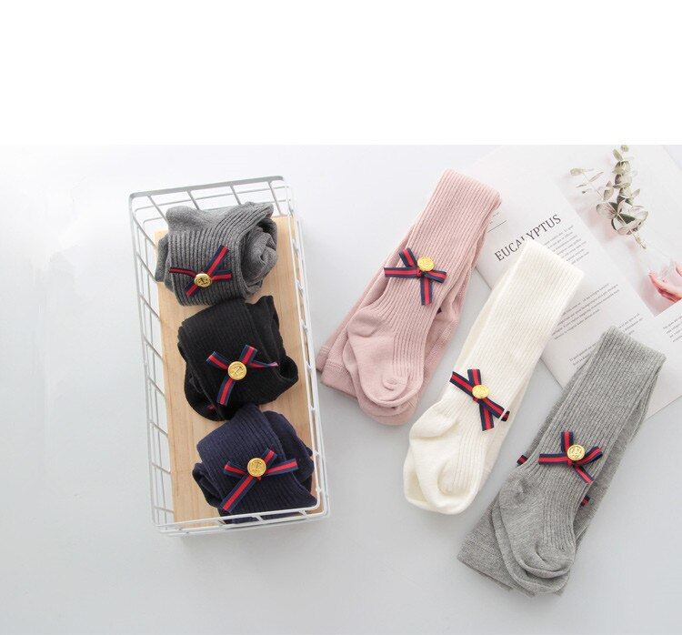 0-8 Yrs Cotton Bowknot Girls Tights
