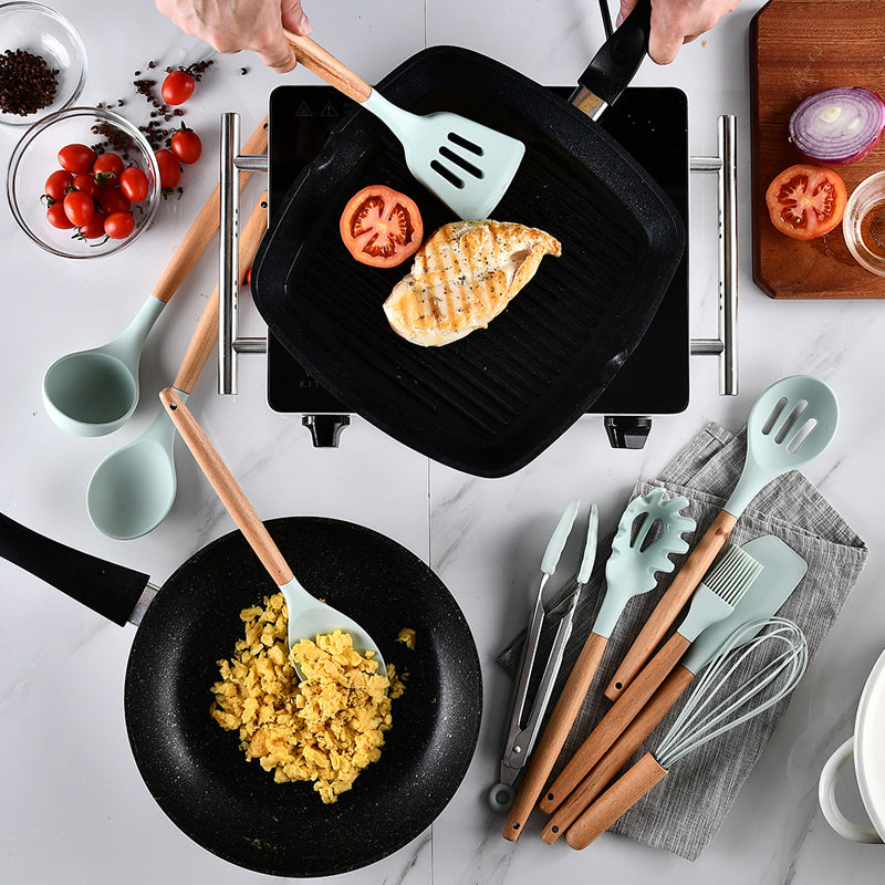 Wooden Handle Non-Stick Silicone Cooking Utensils Set